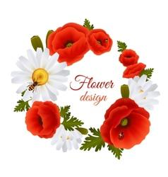 Poppy daisy postcard template vector image