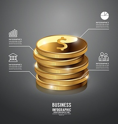 Infographic gold coin business template vector