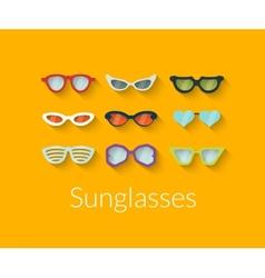 Flat set of sunglasses vector image