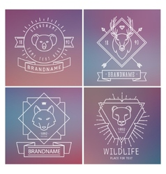 Trendy retro vintage insignias bundle animals vector