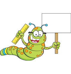 Cartoon inch worm holding a sign and a ruler vector