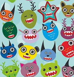Cute cartoon muzzle monsters seamless pattern on vector