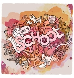 School hand lettering and doodles elements and vector