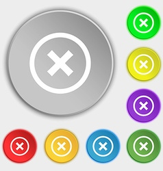 Cancel icon no sign symbols on eight flat buttons vector