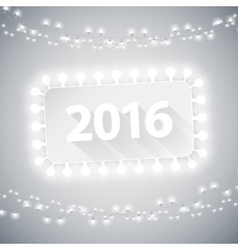 Simple banner 2016 with christmas lights vector