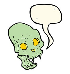 Cartoon spooky vampire skull with speech bubble vector