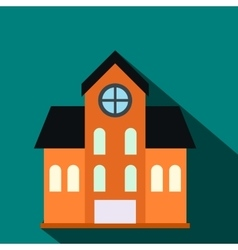 House with a mansard flat icon vector