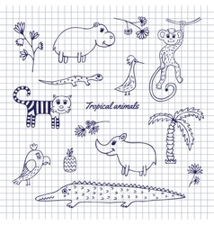 Hand-draw tropical animals vector