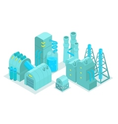 Set major plant factory isometry vector