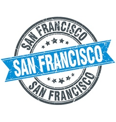 San francisco blue round grunge vintage ribbon vector