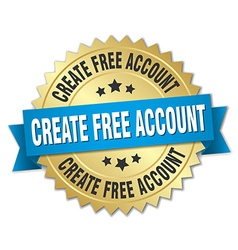 Create free account 3d gold badge with blue ribbon vector