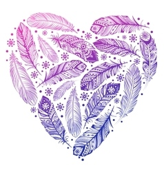 Beautiful Valentines day feather heart vector image vector image