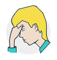 boy is upset and thoughtful vector image vector image