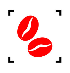 Coffee beans sign red icon inside black vector