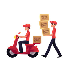 Courier carrying pile of boxes delivering vector