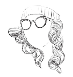 Curly fashion woman in glasses vector image vector image