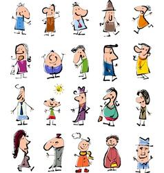 Doodle people cartoon set vector