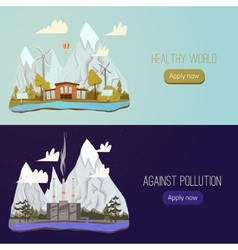Ecology Concept Banners for Green Energy vector image vector image