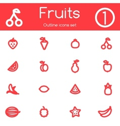 Fruits outline icons vector