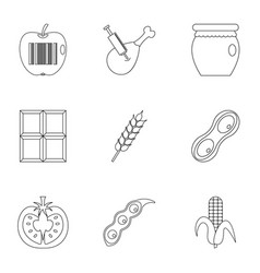 Gmo free icon set outline style vector