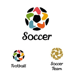 Hand-drawn logo with a soccer ball with hands like vector