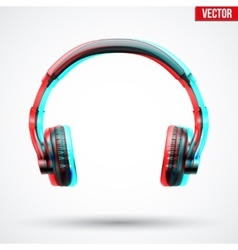 Headphones with visual stereo effect vector
