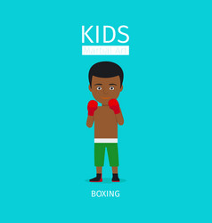 Kids martial art boxing boy icon vector