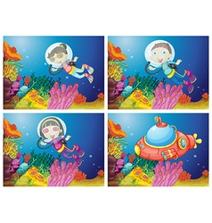 Kids scuba diving under the sea vector