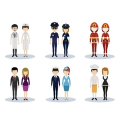 Male and female professional character set vector image