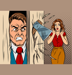 man breaking in the door comic book style vector image