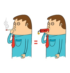Man smoking vector image