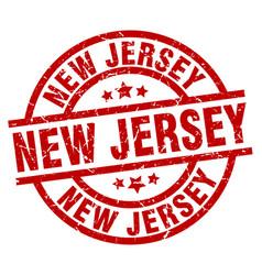 New jersey red round grunge stamp vector