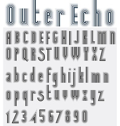 Parallel striped black and white font and numbers vector image vector image