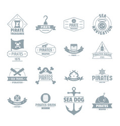 pirate logo icons set simple style vector image vector image