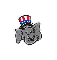 Republican elephant mascot head top hat cartoon vector