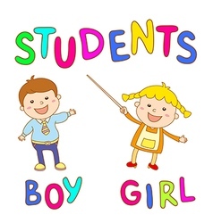 School kids - cute boy and girl vector