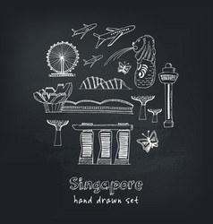 set of singapore hand drawn icons vector image vector image