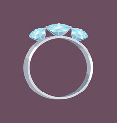 Silver or white gold ring with three blue stones vector