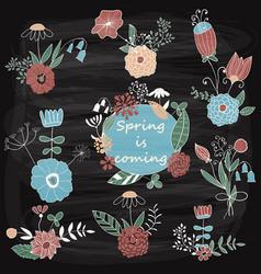 Spring floral design elements vector