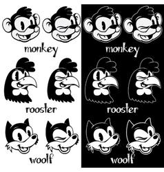 Vintage cartoon retro cartoon monkey rooster vector