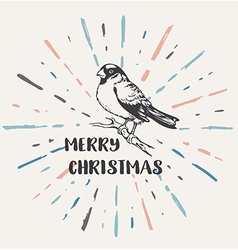 Vintage Christmas background with bullfinch vector image vector image