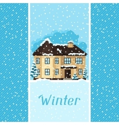 Winter card design with house and trees vector image vector image