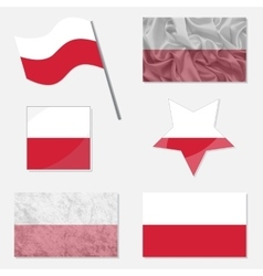 Set with flags of poland vector