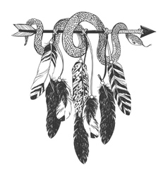 Dreamcatcher with arrow feathers and snake vector