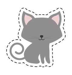 Cat fluffy lovely animal cut line vector