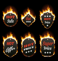 set of six hot sale frames surrounded with flame vector image