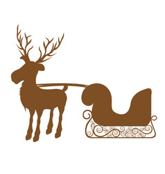 Monochrome silhouette of reindeer with sleigh vector