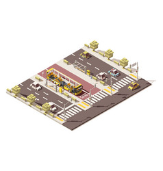 Isometric low poly dedicated bus lane vector