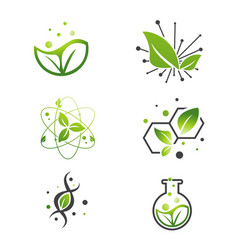 Vegan green leaf abstract science lab set vector