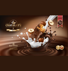 3d splashes of melted chocolate and milk vector